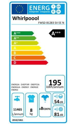 Whirlpool FWSD81283SVEEN clasa energetica