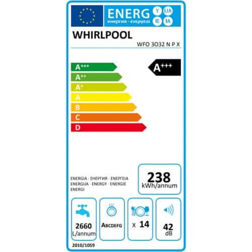 Whirlpool WFO3O32NPX clasa energetica